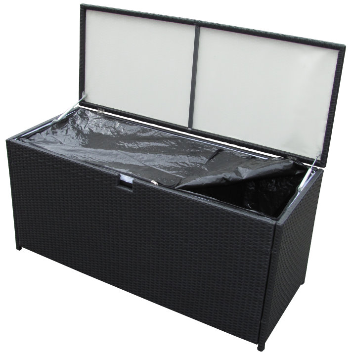 poly rattan kissenbox auflagenbox gartenbox 115 x 45 x 65 cm schwarz ebay. Black Bedroom Furniture Sets. Home Design Ideas