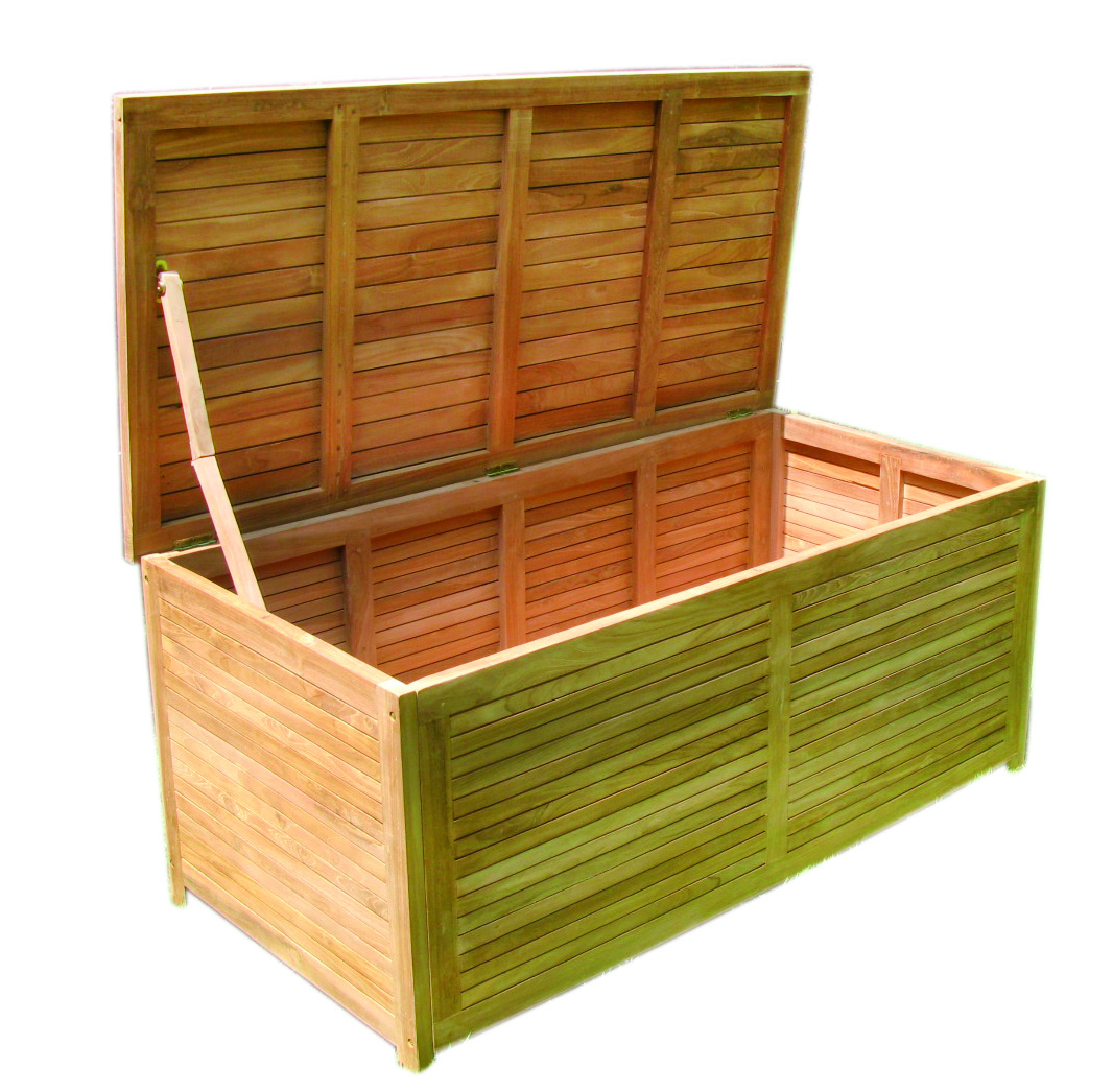 echt teak auflagenbox kissenbox gartenbox gartentruhe 125. Black Bedroom Furniture Sets. Home Design Ideas