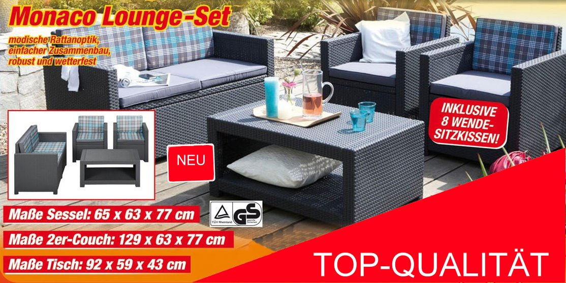 allibert monaco lounge set sitzgruppe poly rattan anthrazit wendepolster top ebay. Black Bedroom Furniture Sets. Home Design Ideas