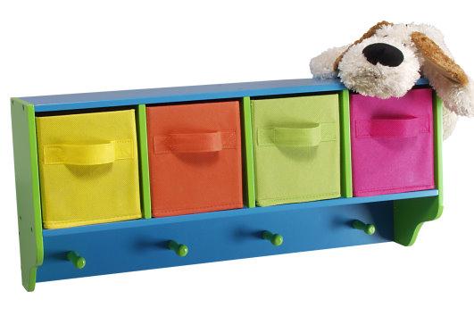 traumhaft kunterbunte kindergarderobe aus holz mit 4 farbigen textil schubladen ebay. Black Bedroom Furniture Sets. Home Design Ideas