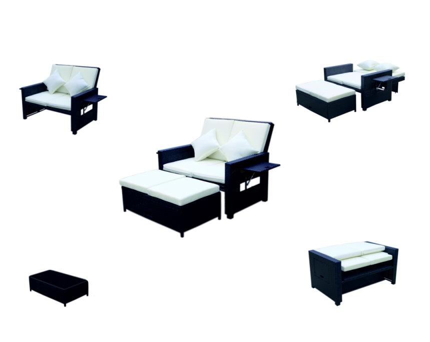 Rattan pe multifunzione divano divano mobili da salotto lounge tavolo poggiapiedi ebay - Mobili multifunzione ...
