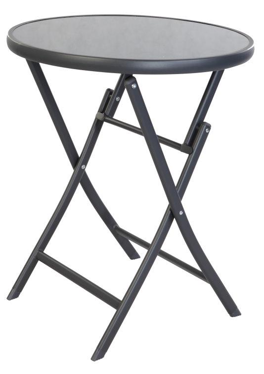 klappbarer gartentisch bistrotisch balkontisch klapptisch glastisch 70cm rund ebay. Black Bedroom Furniture Sets. Home Design Ideas